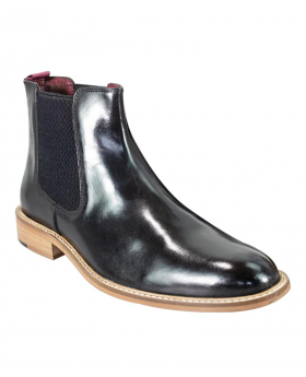 Men's Signature Black Pull On Leather Oxford Chelsea Boots