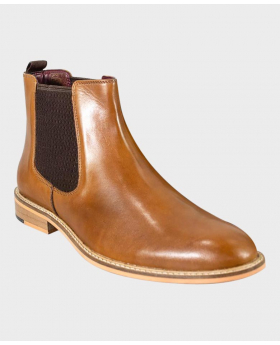 Mens Signature Tan Brown Pull On Slip on Leather Oxford Chelsea Boots