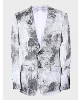 Men's Slim Fit Patterned Wedding Groom Blazer in Grey with accessories front picture