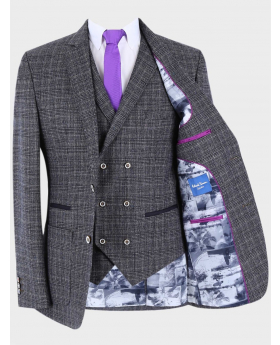 Men's Slim Fit Retro  Check Blazer and Waistcoat with accessories in Grey Sold Separately front open picture