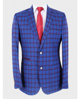 Men's Slim Fit Retro Windowpane Check Blazer with accessories in Navy Blue front picture