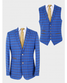 Men's Slim Fit Retro Windowpane Check Blazer and waistcoat in Royal Blue    with accessories front picture