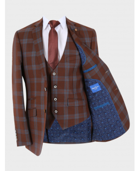 Men's Windowpane Check Skinny Fit Special Occasion Formal Jacket, waistcoat with accessories  in  Brown front open picture
