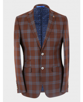 Men's Windowpane Check Skinny Fit Special Occasion Formal Jacket  in  Brown front  picture