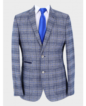 Men's Windowpane Check Slim Fit Blazer in Blue with accessories front picture