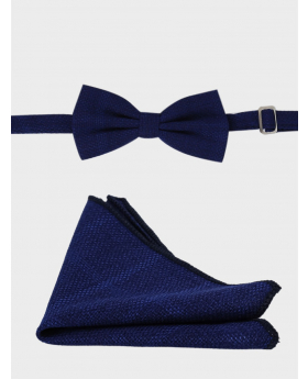 Men's & Young Boys Tweed Windowpane Check Bow tie and hankie set in Navy blue front picture