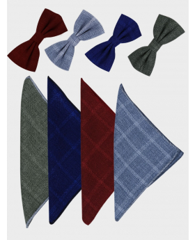 Men's & Young Boys Tweed Windowpane Check Bow tie with hankie set in burgundy, grey-blue, navy blue, and green front picture
