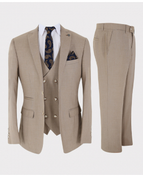Mens 3 Piece Suit Classic Special Occasion Tailored Fit Beige