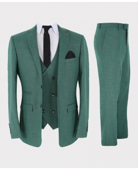 Mens 3 Piece Suit Trendy Special Occasion Tailored Fit Green