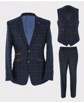 Mens Blazer Waistcoat & Trousers Navy Blue Windowpane Check Tailored Fit Set Sold Separately