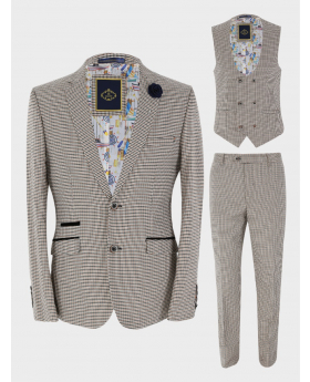 View of the blazer jacket, waistcoat and trousers from the Mens Blazer Waistcoat Trousers Skinny Fit Tan Houndstooth Check Sold Separately