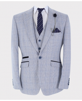 Mens Blazer Waistcoat with accessories Slim Fit Blue Houndstooth Check Tweed  Set front Picture