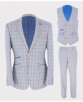 Mens Blazer Waistcoat Trousers Tailored Fit Check Set Sold Separately in Light Blue
