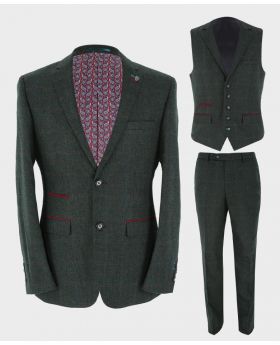 Mens Blazer Waistcoat & Trousers Tailored Fit  Tweed Check in Green Sold Separately