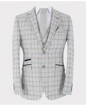 Front view of the Jacket from Mens Blazer Waistcoat Trousers Tweed Windowpane Check Slim Fit in Ice Blue Sold Separately