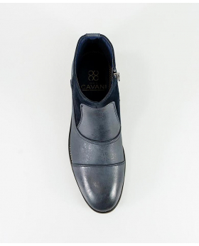 Men's Navy Blue Suede and Leather Mix Chelsea Boots