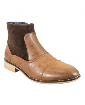 Men's Tan Brown Suede and Leather Mix Chelsea Boots