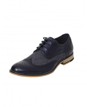 Men's Navy Lace up Leather Brogues & Fabric Shoes