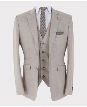 Beige Slim Fit Formal Linen Blazer Jacket with waistcoat and accessories open picture