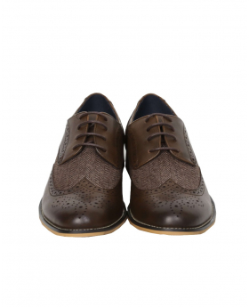 Men's Brown Lace up Leather Brogues & Fabric Shoes