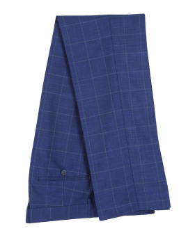 Mens Rover Blue Windowpane Check Trousers Side Picture