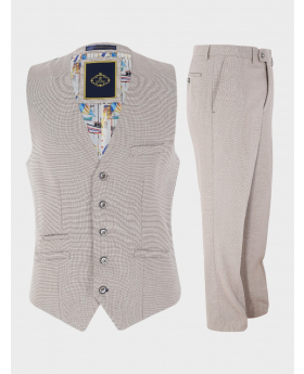 Mens Single-Breasted Waistcoat and Trousers Linen Suit Set Formal Slim Fit in Beige Sold Separately