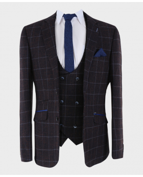 MensBlazer Jacket with matching waistcoat and accessories  Formal Tweed Herringbone Check Open  Front Picture