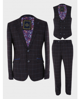 View of the blazer jacket, waiscoat and trousers of the Mens Suit Formal Tweed Herringbone Check 3 Piece Skinny Fit Set in Dark Brown
