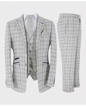 Mens Suit Formal Tweed Windowpane Check 3 Piece Skinny Fit Set in Ice Blue with accessories picture