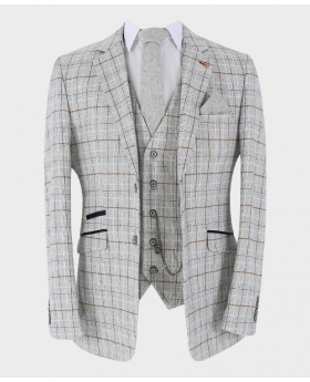 Mens Suit Formal Tweed Windowpane Check blazer jacket with waistcoat and accessories front picture