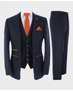 Mens Suit Tailored Fit Navy Blue Tweed Check 3 Piece Set