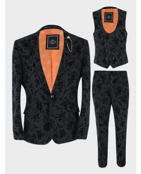 Mens Suit Velvet Floral Embroidered Formal Set 3 Piece in Black front picture