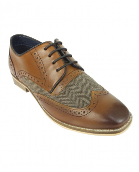 Men's Signature Lace up Tan Brown Tweed Leather Brogues Oxfords - Angled