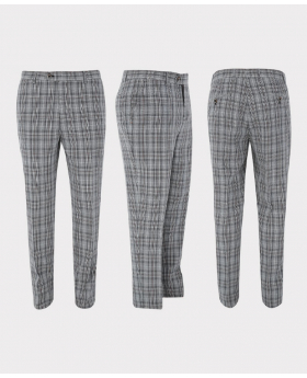 Mens Trousers Skinny Fit Tweed  Check in Grey three side picture