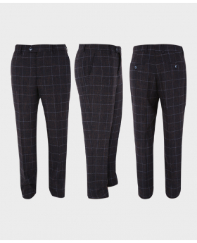Mens Trousers Skinny Fit Tweed Herringbone Check in dark brown three sidesPictures