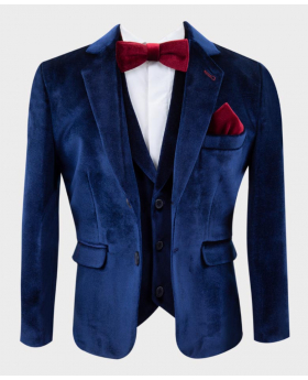 Navy Blue blazer and matching waistcoat with burgundy bow tie