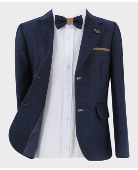 Navy Blue Blazer Jacket  with a matching bow tie open  Picture