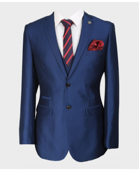 Paul Andrew Mens & Boys Sheen Effect Royal Blue Wedding 3 Piece Suit with accessories front close picture