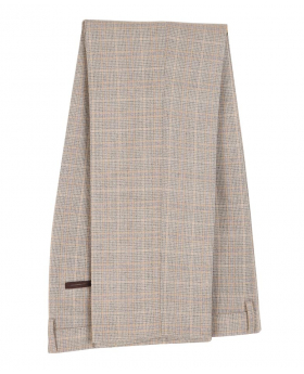 Paul Andrew Men Check Tweed Retro Trousers in Beige Front side picture