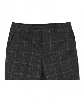 Paul Andrew Men Check Tweed Retro Trousers in Charcoal Grey Front details