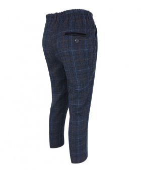 Paul Andrew Men Check Tweed Retro Trousers in Navy Blue Side Picture