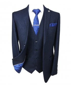 paul andrew men's and boys navy blue textured matching suit blazer with shirt tie and hankie-front open jacket- wedding office business formal occasion dress