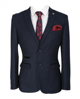 paul andrew mens and boys navy blue textured matching suit jacket blazer with shirt tie and hankie-front
