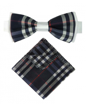 View of the bow tie and hanky from the  Boys Bow Tie Burberry Check Style Navy Blue with White Strap
