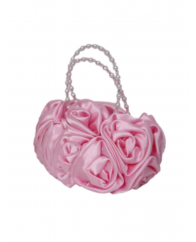 Pink Satin Ruffle Rose Flower Girls Handbag view of the handbag with pearls detail