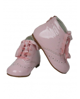 Baby Girls Spanish Romany Style Patent Ribbon Lace up Ankle Pink Boots