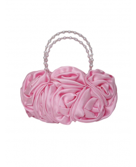 Pink Satin Ruffle Rose Flower Girls Handbag view of the handbag