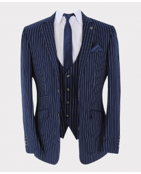 Pinstripe Blazer Jacket in navvy Blue with matching waistcoat and accessories