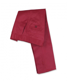 Folded view of the Boys Slim Fit Straight Leg Red Burgundy Chino Trousers