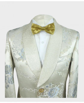 Near view of the Men's Blazer Floral Embellished Silver & Gold Wedding Groom